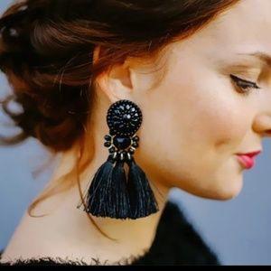 Jewelry - Black Boho Beaded Tassel Drop Earrings